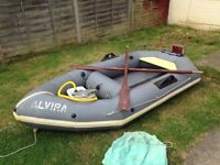 Alvira 9ft dinghy with outboard bracket oars and pump and bag £180