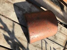 Clay half round ridge tiles