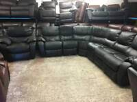 REDUCED bargain Reclining black corner sofa and chair