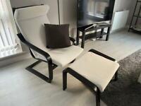 Ikea POÄNG Poang armchair with footstool