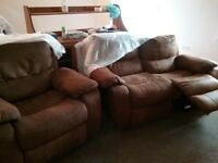 two seater settee and rocking recliner chair