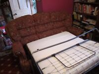 3 Seater Sofa Bed and matching manual Recliner Chair