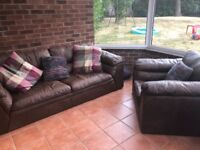 Large Brown leather sofa and chair hardly used AHF