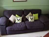 3 Seater Plaza Sofa in Bologne Fabric and in Chocolate Colour