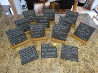 Wedding slate message boards with hardwood holder/stands for sale.