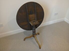 Antique oak circular / round occasional table / tripod table