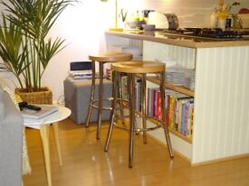 2 x Beech and Chrome Bar Stools
