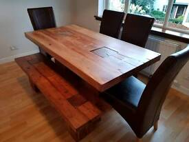 handmade Vietnamese 8 seater dining table & matching coffee table, tv stand. New with receipt