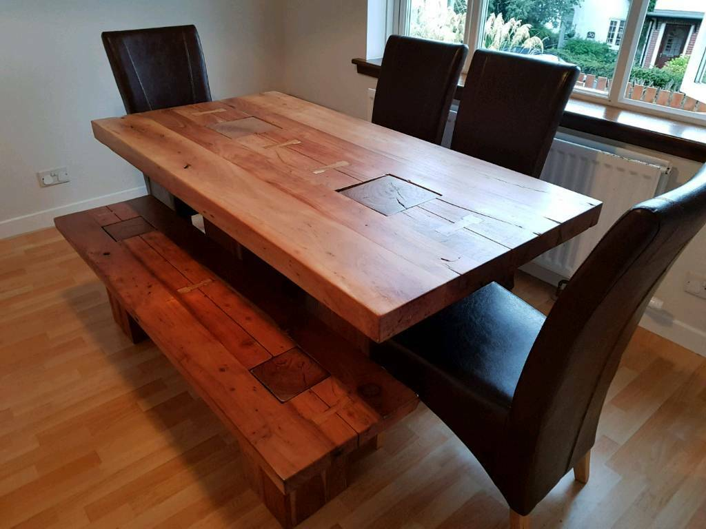 handmade vietnamese 8 seater dining table & matching coffee table