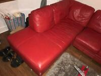DFS red leather corner couch