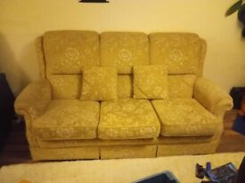 Sofa three seater high back Floral Sandy Yellow