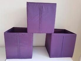 Set of 3 Ikea purple canvas storage boxes