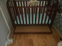 Beautiful cot/cot bed with draw and waterproof matress