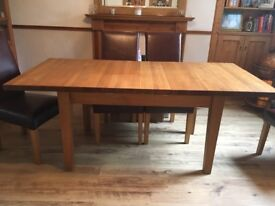 Solid oak Dining table and Italian leather chairs