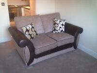 3 seater sofa bed, 2 seater sofa, matching footstool and 4 cushions