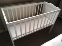 Babies R Us Harlow Static Crib in White, Baby Nursery CotBed With Mattress