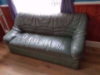 Green Leather Sofa - Great Condition!