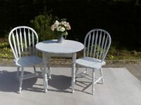 Lovely Bistro or Small Kitchen/Conservatory Table and 2 Chairs. Shabby Chic, Blue and White.