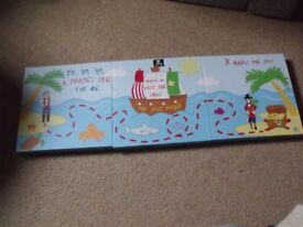 Kids Pirate Treasure Pictures/Canvass x 3