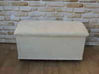 White fabric storage blanket chest / ottoman (Delivery)