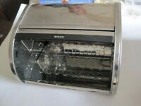 BRABANTIA CHROME BREADBIN WITH ROLL TOP FRONT - NEVER USED