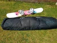 Salomon Lotus 151 Snowboard, Salomon Spell Bindings and Dakine Travel Bag