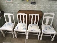 4 x hand painted shabby chic dining chairs