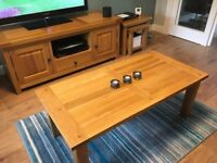 Solid Oak TV Unit, Coffee Table & Nest Tables (Matching Reid Set)