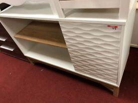 1 wave effect door TV unit - white/oak