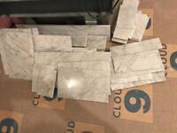 Off cuts of Carrara marble tiles