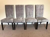 4 silver/grey velvet high back chairs
