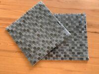 Veranda Grey / Black gloss and stone Mosaic tiles 2 x 30x30