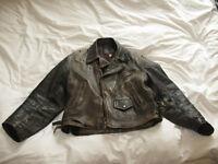 Vintage distressed dark brown/black mens medium size motorcycle jacket halloween costume madmax ter