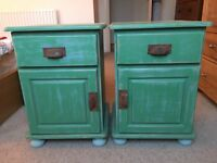 Shabby Chic bedside tables, pine
