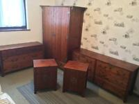 Solid Wood Oriental Walnut Bedroom Suite