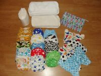 LITTLE BLOOMS Reusable nappies and TOTS BOTS nappy bin (+ accessories)