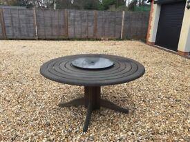 Teak Circular Garden Table with Lazy Susan
