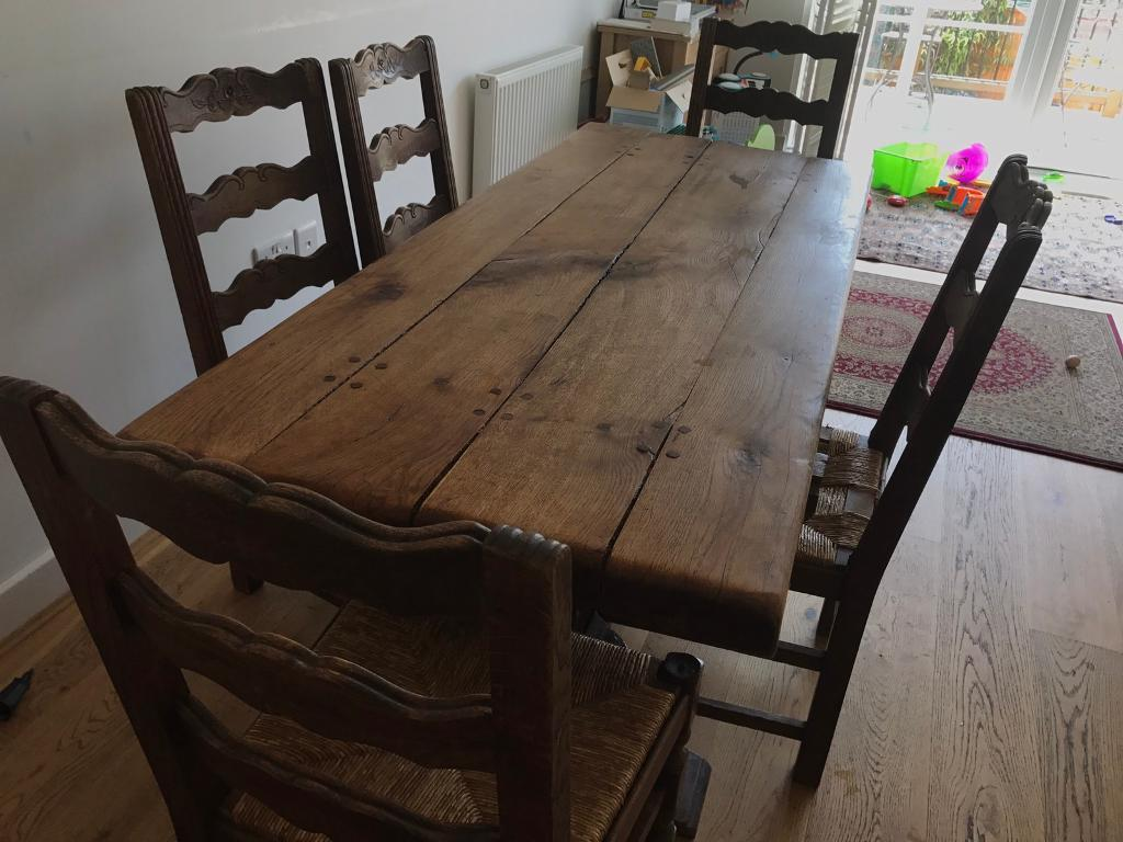 """French dining tablein Worcester Park, LondonGumtree - Selling dining tableOriginal French table sourced from a French chateau by the second hand french furniture seller """" a French life"""" in Kingston four years ago. Bought for 400.Price open to offers Comes with six chairs which are in less good..."""