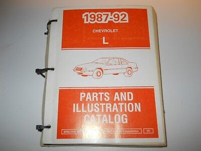 1987-1992 CHEVROLET CORSICA BERETTA L BODY PARTS AND ILLUSTRATION CATALOG 9/91