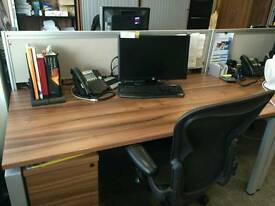 Office desks and chairs and storage