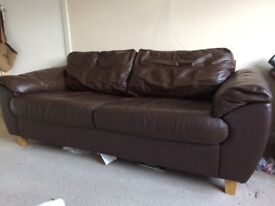 2 x Brown Faux leather sofas