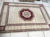 Cream, Ivory & red 'Cornwall' rug