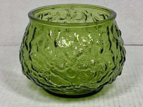 E.O Brody Green CRINKLE GLASS Bowl - Vintage Mid-Century Modern Bowl