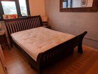 Hardwood king size bed frame + free mattress