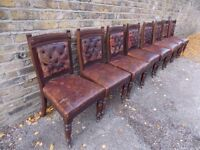 IRISH VICTORIAN ANTIQUE CARVED MAHOGANY DINING CHAIRS LABELLED ARNOTTS OF DUBLIN CIRCA 1880