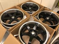 "4 x NEW 19"" 5x112 DEEP DISH ALLOY WHEELS 5x112 5 112 POLISHED AUDI A5 VW golf mk5 mk6 a3"