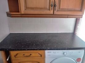 3 kitchen cupboards and drawer with worktop, corner unit and towel space