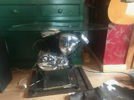 custom glass top motorbike engine table