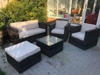 5 piece rattan garden suite including cushions