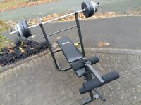 WEIGHTS BENCH & BARBELL WITH 30KG